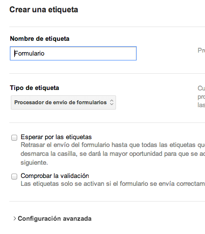 Procesador envio formularios google tag manager
