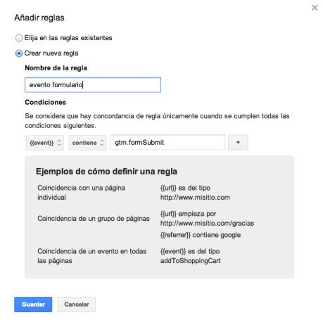 regla activación evento con google tag manager
