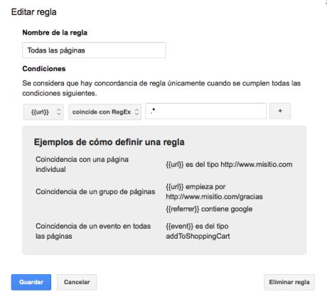 Regla activación en todas las páginas google tag manager