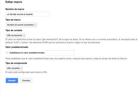 Macro Captura URL en google tag manager